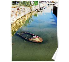 sad sunken boat Poster