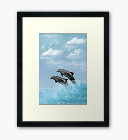 Leaping Dolphins Framed Print