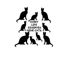 Every Life Deserves Nine Cats Photographic Print