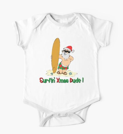 """Funny Christmas T-Shirt """"Surfing Santa Claus""""  One Piece - Short Sleeve"""