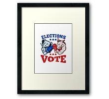 Democrat Donkey Republican Elephant Mascot Election Vote Framed Print