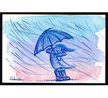 Stormy Sunday - watercolor pencil drawing/painting  Photographic Print