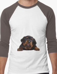 Cute Rottweiler With Tongue Out Isolated Men's Baseball ¾ T-Shirt