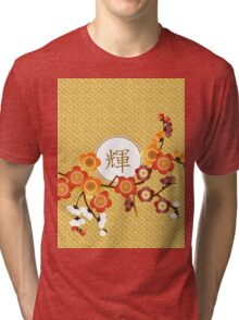 Japanese Plum Blossoms Gold Orange Red Kagayaki Radiance Tri-blend T-Shirt