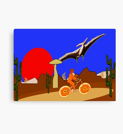 A Pterodactyl and an Orange Bicycle Canvas Print
