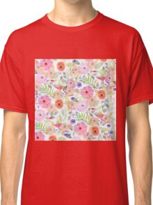 Pretty watercolor hand paint abstract floral Classic T-Shirt