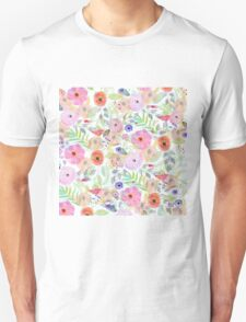 Pretty watercolor hand paint abstract floral T-Shirt