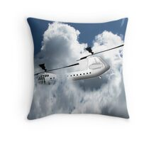 Chinook type Helicopter Descending into Cloud Throw Pillow