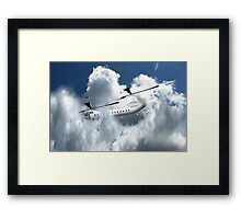 Chinook type Helicopter Descending into Cloud Framed Print