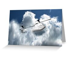 Chinook type Helicopter Descending into Cloud Greeting Card