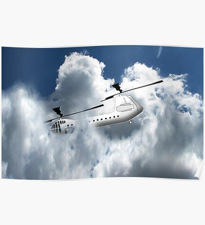 Chinook type Helicopter Descending into Cloud Poster