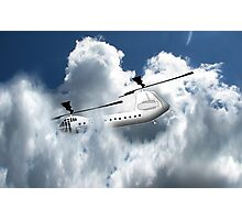 Chinook type Helicopter Descending into Cloud Photographic Print