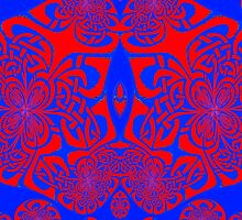 A Red & Blue knotwork (c17a) design  by Dennis Melling