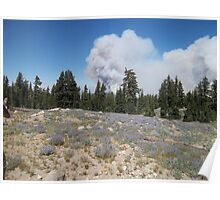 Fire at Lassen park near campgrounds Poster