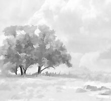 Snowy Scene Drawing by Helmar Designs