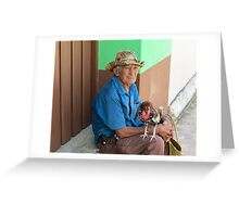 Man and rooster. Greeting Card