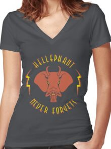 Hellephant - Pyrokinetic Red on Army Women's Fitted V-Neck T-Shirt