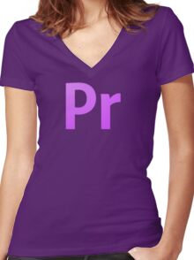 Adobe Premier  Women's Fitted V-Neck T-Shirt