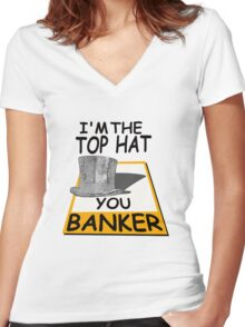 i'm the top hat Women's Fitted V-Neck T-Shirt