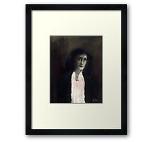 Girl with white scarf Framed Print