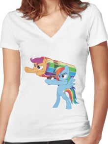 Rainbow Cannon Women's Fitted V-Neck T-Shirt