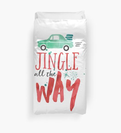 Watercolor Jingle All The Way Duvet Cover