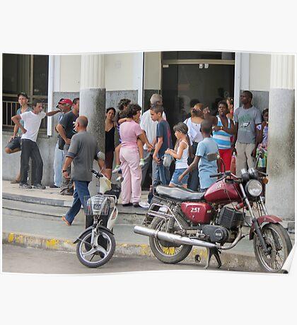 Bank queue. Poster