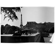 The canons of the Invalides and Eiffel tower Paris Poster