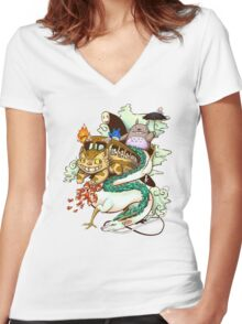 Ghibli world Women's Fitted V-Neck T-Shirt