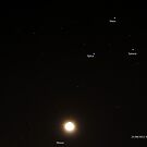Moon, Saturn, Mars and Spica by Doug Cliff
