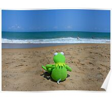 Beach Sea Sea ​​view Water Lonely Frog Poster
