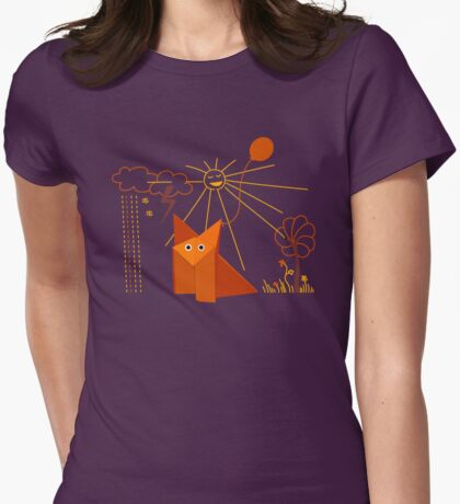 Cute Origami Fox Is Happy Womens Fitted T-Shirt