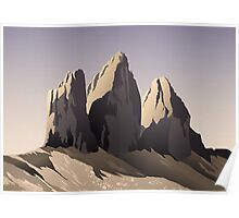 Tre cime di Lavaredo at sunset Poster