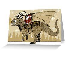 Antlered Dragon & Santa Greeting Card