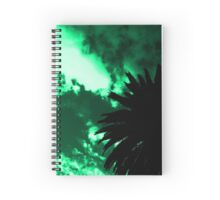 Palm Tree Silhouette - Green Sunset Spiral Notebook