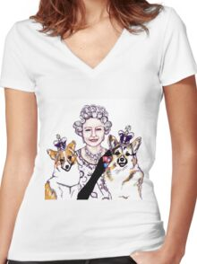 Queen and Corgis Women's Fitted V-Neck T-Shirt