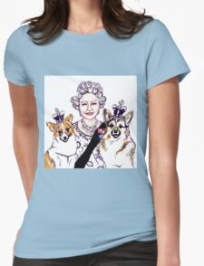 Queen and Corgis Womens Fitted T-Shirt