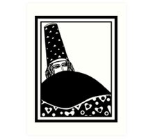 The wizard, vector drawing in black and white Art Print