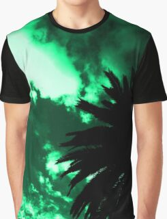Palm Tree Silhouette - Green Sunset Graphic T-Shirt
