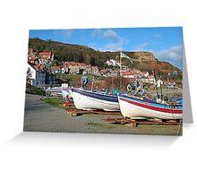 Boats at ease, Runswick Bay Greeting Card
