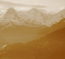 Sisters of the Swiss Alps in Sepia by Mary-Elizabeth Kadlub