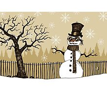 Snowman with goggles Photographic Print