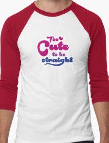 Too cute to bi straight Men's Baseball ¾ T-Shirt