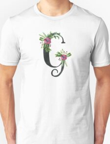 Monogram G with Floral Wreaths Unisex T-Shirt