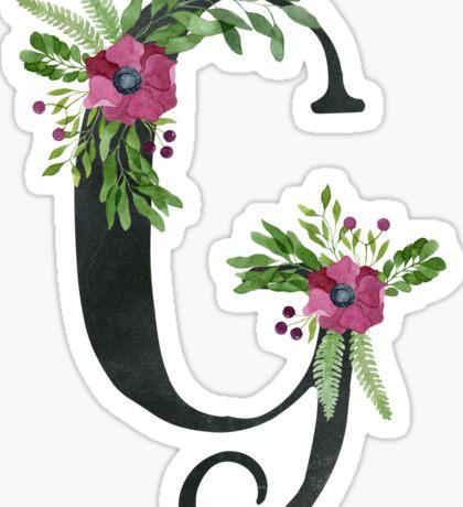 Monogram G with Floral Wreath Sticker