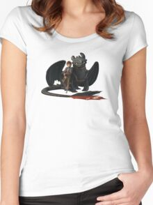 hi cup and toothless Women's Fitted Scoop T-Shirt