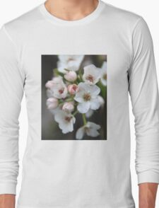 White and Pink Flowers Long Sleeve T-Shirt