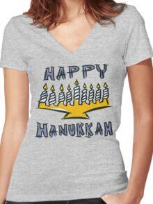 Happy Hanukkah T-Shirt Women's Fitted V-Neck T-Shirt