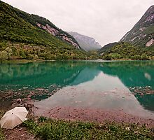 Fishing in the Lago di Tenno by Mike Church