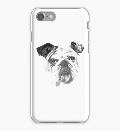 Portrait Of An American Bulldog In Black and White  iPhone Case/Skin